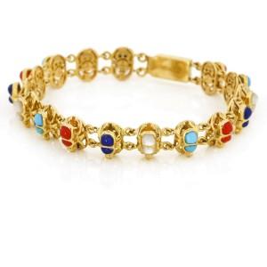 Gemstone Scarab Link Bracelet in 18k Yellow Gold