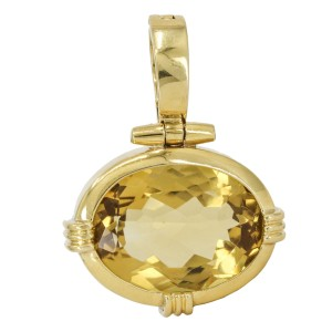 Oval Citrine Statement Pendant Enhancer in 18k Yellow Gold