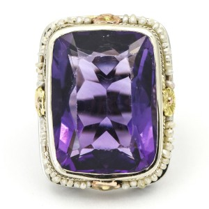 Art Deco Style Amethyst Seed Pearl Statement Ring in 18k Gold