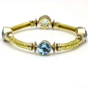 SeidenGang Blue Topaz Station Bracelet in 18k Yellow Gold