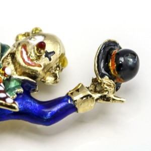 Clown Riding a Unicycle Enamel Brooch in 14k Yellow Gold