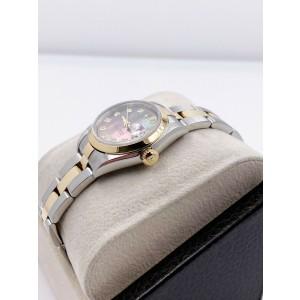 Rolex Ladies Datejust 79163 Tahitihan MOP Diamond Dial 18K Gold Steel Box Papers