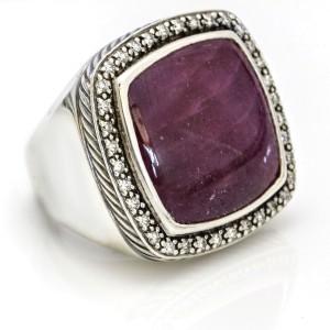 David Yurman 20mm Ruby Moonlight Ice Ring in Sterling Silver