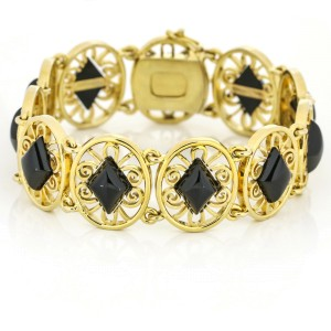 Onyx Openwork Link Bracelet in 14k Yellow Gold