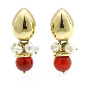 Carnelian and Pearl Dangle Retro Statement Earrings in 18k Yellow Gold