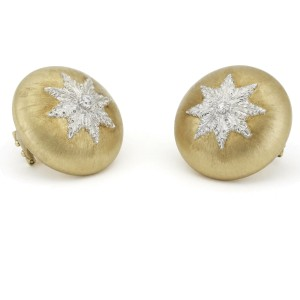 Buccellati Macri Classica Diamond Clip-On Button Earrings 18k Gold