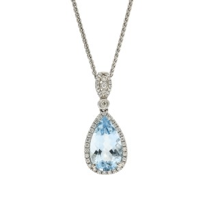 Aquamarine and Diamond Drop Pendant Necklace in 18k White Gold