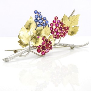 Platinum 14k Gold Ruby Sapphire Diamond Branch with Leaves Brooch