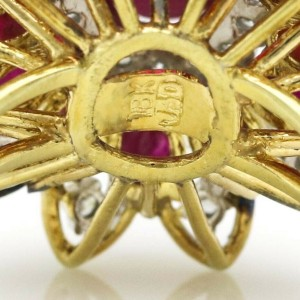 Ruby and Diamond Vintage Statement Ring in 18k Yellow Gold