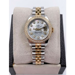 Rolex Ladies Datejust 179383 MOP Diamond Dial 18K Yellow Gold Steel Box Papers