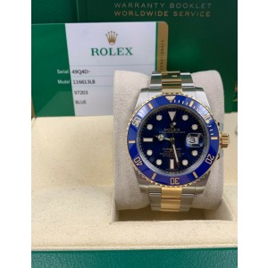 Rolex 116613 Submariner Two Tone Blue Dial Bezel 18K Stainless Box Papers 2019