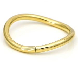 Faraone Mennella Diamond Curved Bangle Bracelet in 18k Yellow Gold