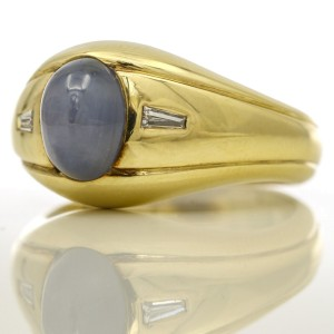 Star Sapphire and Diamond Band Ring in 14k Yellow Gold