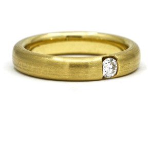Men's Solitaire Diamond Round Band Ring in 18k Yellow Gold Signed CB (.24 ct tw)
