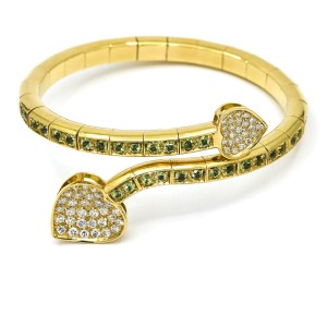 Peridot Pave Diamond Heart Shaped Leaf Wrap Around Bracelet in 18k Yellow Gold