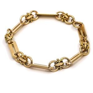 Men's Fancy Link Chain Bracelet in 14k Rose Gold XLarge 9.5""