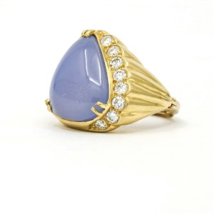 Chalcedony Diamond Statement Ring in 18k Yellow Gold ( .50 cttw )