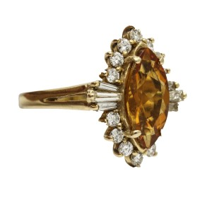 Medeira Citrine Diamond Cocktail Ring in 14k Yellow Gold