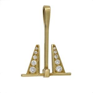 Diamond Anchor Pendant in 14k Yellow Gold ( .50 ct tw )
