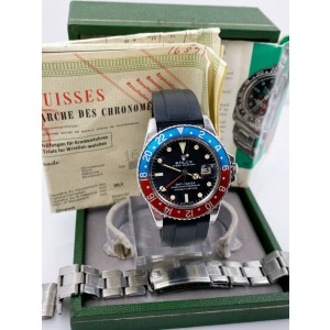 Vintage Rolex GMT Master 1675 Pepsi Red Blue Box Papers Year 1967