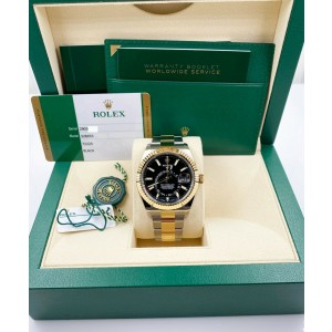 BRAND NEW Rolex 326933 Sky Dweller Black 18K Yellow Gold Stainless Box Paper