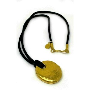 Gurhan Hammered Pebble 24k Gold Pendant & Black Cord Necklace
