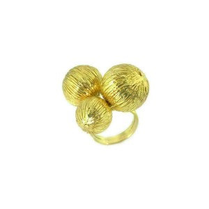 Giordana Castellan Italy 14k Yellow Gold Foil Design Triple Ball Ring