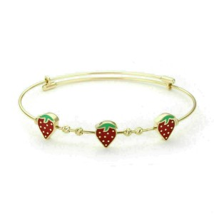 Enamel Strawberry Expandable Wire 14k Yellow Gold Bangle Bracelet