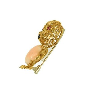 Vintage Coral Ruby & Sapphire 18k Yellow Gold Cat Brooch Pin