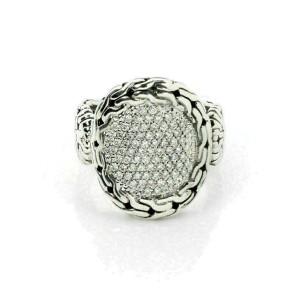 John Hardy Diamond Sterling Silver 18k Yellow Gold Fancy Oval Ring