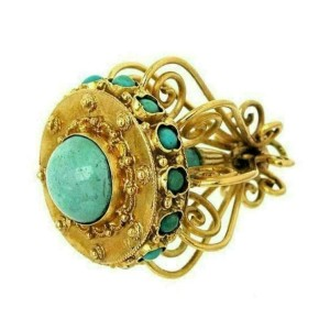 Estate Turquoise Chandelier 18k Yellow Gold Charm Pendant