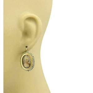 Antique Hand painted Cameo Seed Pearls 14k Yellow Gold Dangle Earrings
