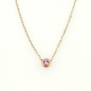 Cartier Diamants de Ledger Pink Sapphire 18k Pink Gold Necklace w/Cert