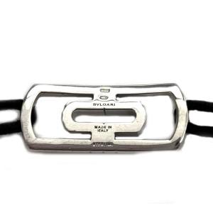 Bvlgari Parentesi Sterling Silver Long Bar Charm & Cord Bracelet