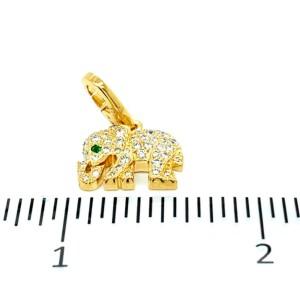 Cartier Diamond Emerald 18k Yellow Gold Elephant Charm Pendant w/Paper