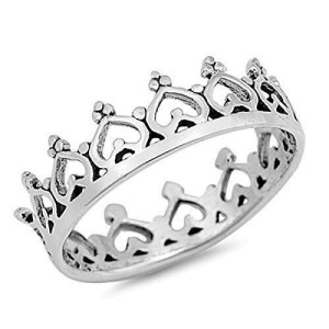 Women's 925 Sterling Silver Heart Crown Promise Wedding Band Ring