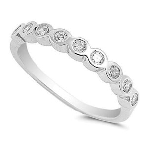 Women's 925 Sterling Silver Simulated Cubic Zirconia Wedding Band Ring