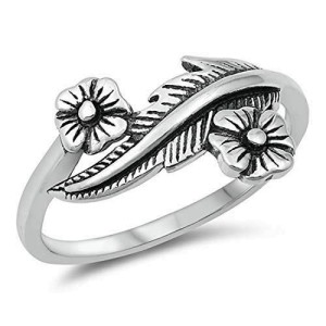 Ladies 925 Sterling Silver Oxidized Flowers with Leaf Band Ring Size 4-10