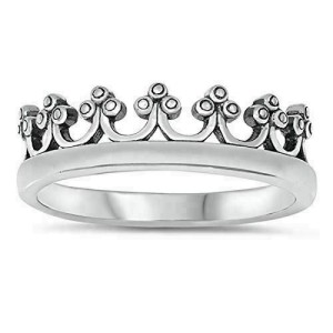Women's 925 Sterling Silver Oxidized Crown Band Ring Size 4-10