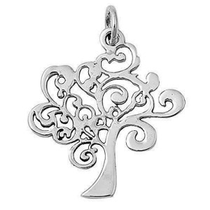 Women's 925 Sterling Silver 40 mm Height Tree of Life Pendant