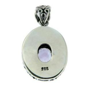 ¦Solid Sterling Silver Bali Bezel Set Amethyst Pendant»P416 ANTIQUE DESIGN!