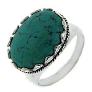 Solid Sterling Silver Lab Turquoise Ring»R27