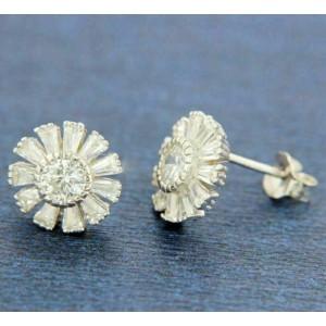 ¦Women's 925 Sterling Silver Round Flower White CZ Stud Earring »E312