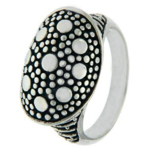 925 Sterling Silver Dots Dome Ring