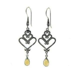 925 Sterling Silver Citine Heart Swirl dangle Earring»E15