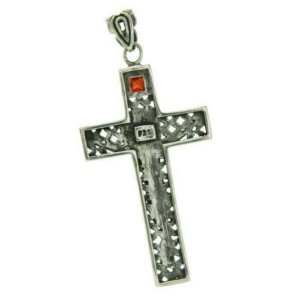 ¦925 Sterling Silver Garnt Jesus Christ Crucifix Cross Pendant »P36