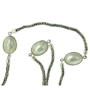 ¦925 Sterling Silver Mother Of Pearl Byzantine Chain Necklace »CH18