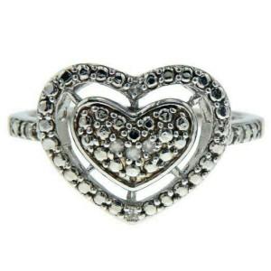 ¦Heart 925 Sterling Silver Diamond Ring »R221