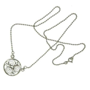 ¦925 Sterling Silver Bali Round Necklace