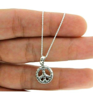 """Sterling Silver Bali PEACES SIGN With Adjustable Chain 16"""" to 18"""" Pendant"""